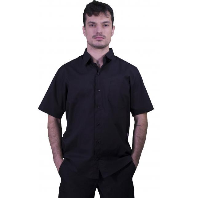 Camisa Social Masculina Tricoline Cedro Manga Curta 0001 PTO P CAS 001