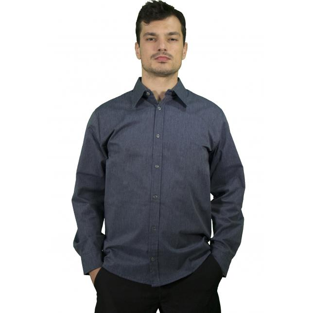 Camisa Social Masculina Cedromix Manga Longa  AZUL 5448 G