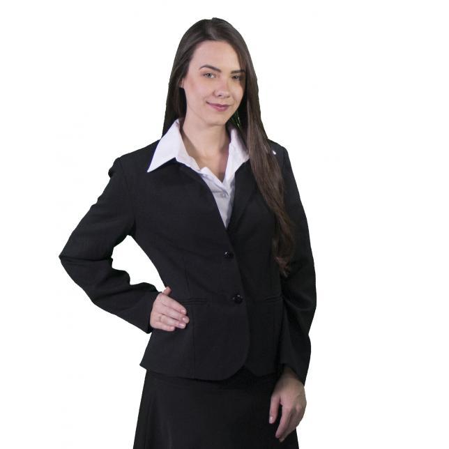 Blazer Feminino Oxford Risca de Giz
