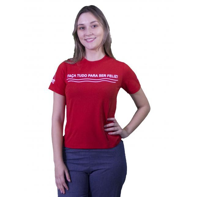 Camiseta PV Decote Redondo C/Frase NENL VERMELHO M
